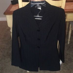 Black and blue stripe business professional suit
